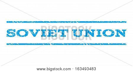 Soviet Union watermark stamp. Text caption between horizontal parallel lines with grunge design style. Rubber seal stamp with dust texture. Vector blue color ink imprint on a white background.
