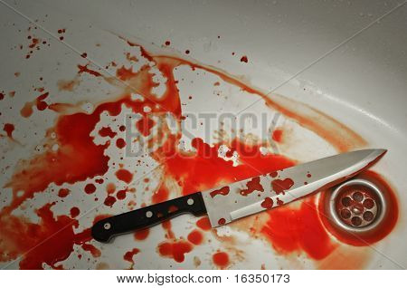 bloody knife in bath