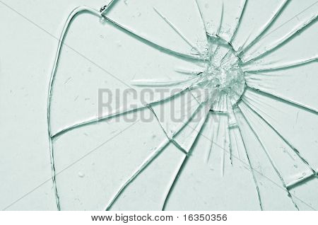 break glass background close up