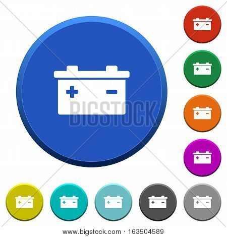 Accumulator round color beveled buttons with smooth surfaces and flat white icons