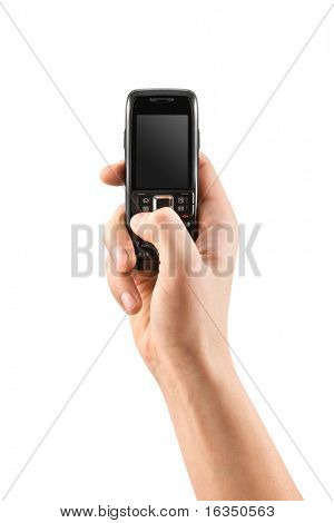 mobile phone in human hand