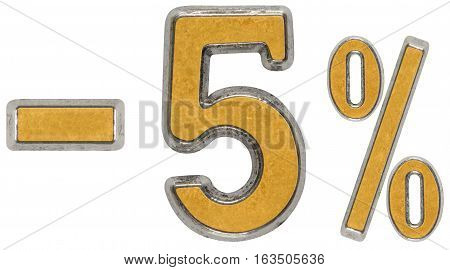 Percent Off. Discount. Minus 5, Five,  Percent. Metal Numeral, Isolated On White Background