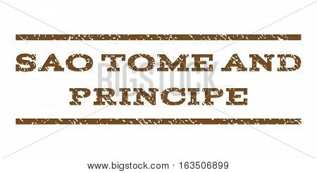 Sao Tome and Principe watermark stamp. Text tag between horizontal parallel lines with grunge design style. Rubber seal stamp with dust texture. Vector brown color ink imprint on a white background.