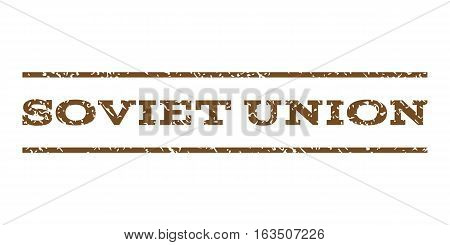 Soviet Union watermark stamp. Text tag between horizontal parallel lines with grunge design style. Rubber seal stamp with unclean texture. Vector brown color ink imprint on a white background.