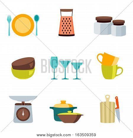 Kitchenware flat design color icons vector set