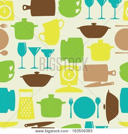 Kitchenware flat design silhouette vector seamless pattern