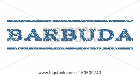 Barbuda watermark stamp. Text tag between horizontal parallel lines with grunge design style. Rubber seal stamp with dirty texture. Vector cobalt color ink imprint on a white background.