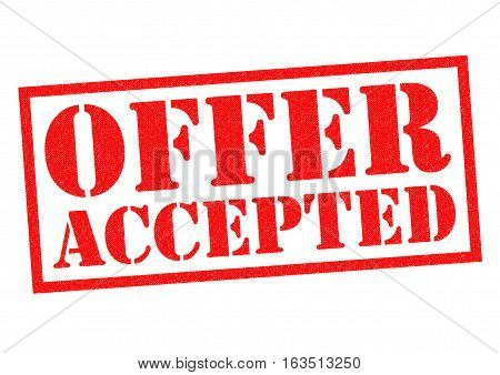 OFFER ACCEPTED red Rubber Stamp over a white background.