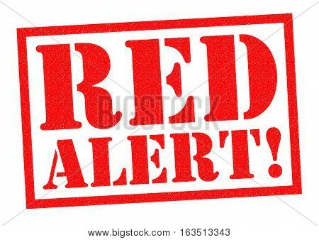 RED ALERT! red Rubber Stamp over a white background.