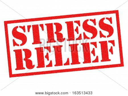 STRESS RELIEF red Rubber Stamp over a white background.