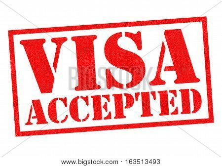 VISA ACCEPTED red Rubber Stamp over a white background.
