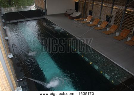 Spa Pool With Fountain And Chair