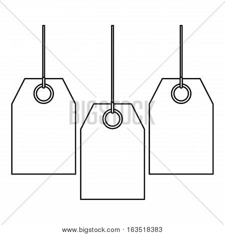 Three tags icon. Outline illustration of three tags vector icon for web