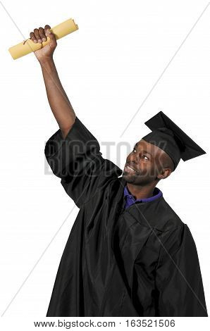 Young black man in his graduation robes