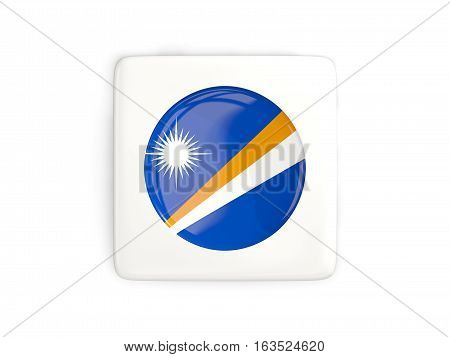 Square Button With Round Flag Of Marshall Islands