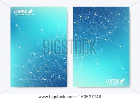 Modern vector template for brochure Leaflet flyer advert cover catalog magazine or annual report. A4 size. Business, science, medical design. Blue cybernetic dots. Lines plexus. Card surface