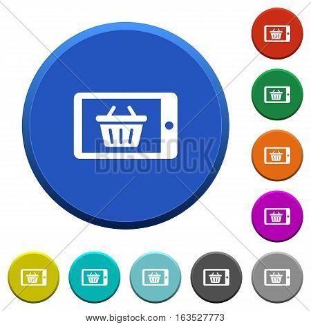 Mobile shopping round color beveled buttons with smooth surfaces and flat white icons