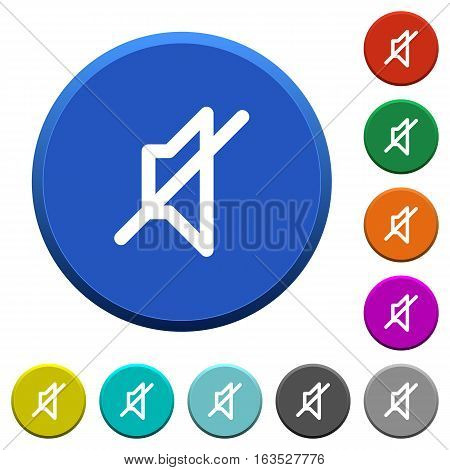 Mute round color beveled buttons with smooth surfaces and flat white icons