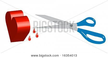 scissors stabbing heart with blood drips - broken heart - vector