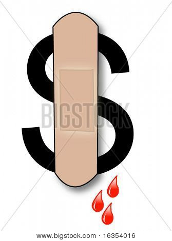 bleeding dollar sign with bandaid and blood drips - vector