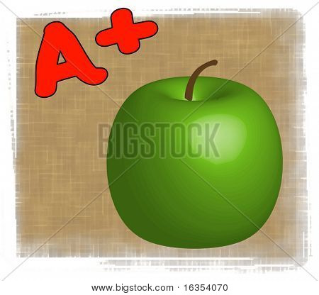 3D apple with A+ - making the grade in school - vector
