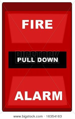 red wall style fire alarm - vector image