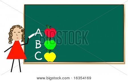 teacher standing at chalk board teaching alphabet with apples - vector
