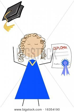 happy graduate throwing cap in the air - vector