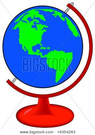 green and blue globe of world on red stand