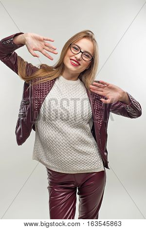 Student Girl In Glasses And Stylish  Spring Casual Clothing. Gir