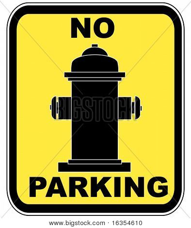 yellow no parking near fire hydrant sign - vector