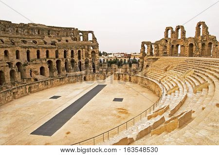 El Jem Colosseum, Tunisia.  It is capable of seating 35,000 spectators.