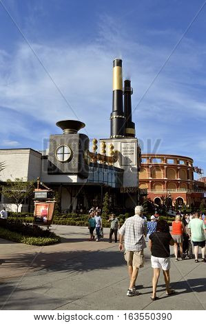 Universal Studios Resort Orlando Florida USA - October 24 2016: Charlie's Chocolate Emporium in the Universal Orlando Resort adventure theme park