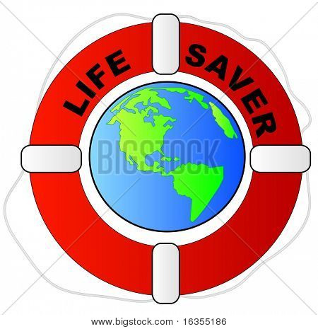 life preserver surrounding the earth - global protection concept