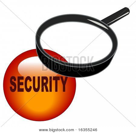 magnifying glass over top of security button