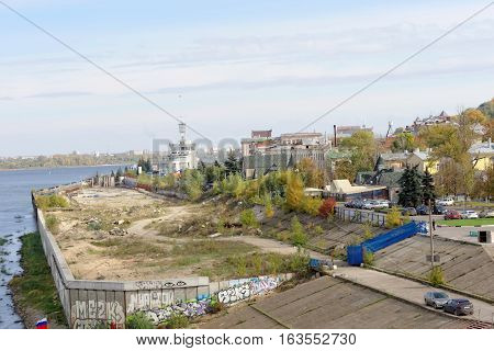 Nizhny Novgorod, Russia. - September 30.2016. View of the abandoned construction site for alteration embankments of the river Oka