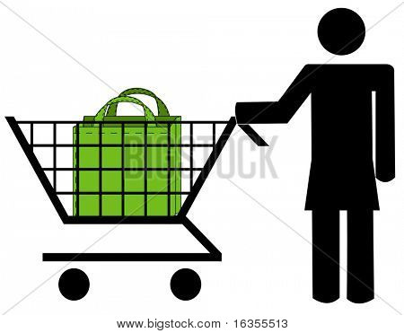 bleiben Sie Frau schieben Einkaufswagen mit Tasche