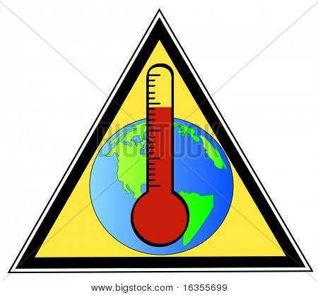 yellow triangular sign warning of global warming