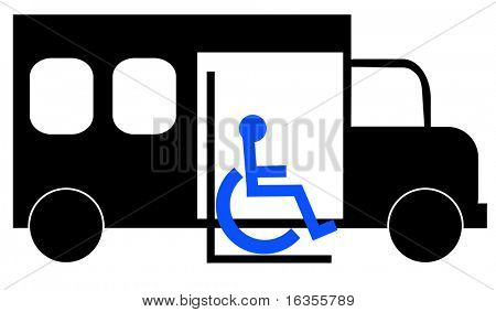 illustration of paratransit bus picking up wheelchair passenger