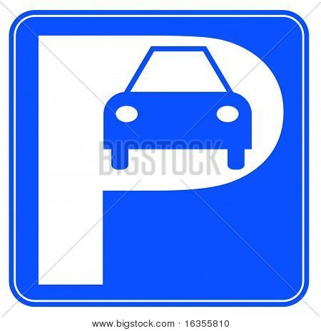blue and white car parking sign - illustration