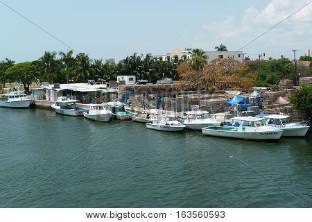 n-us-fl  Miami, Florida - 2008-05-08:  Miami River Area - Fishing Boats of a Shellfish Fishery