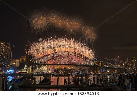 Sydney Fireworks Eve New year Show at Harbour bridge from Clak park Sydney Australia.JAN 01,2017  the world-famous Sydney New Year's Eve fireworks from an unrivalled vantage point.