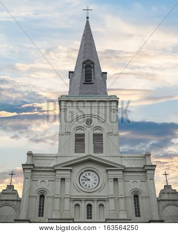 Saint louis Cathedral in French Quarter of New Orleans Louisiana with cloudy sky