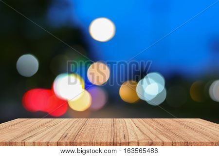 Empty wood table and light bokeh for Christmas New Year background. with copy space add text