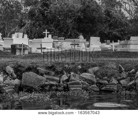 Cemetary situated along the waterways and bayous of New Orleans Louisiana