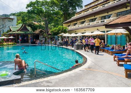 Kata, Phuket, Thailand. 13 April 2016: Songkran Festival. Celebration of the traditional Thai New Year in Orchidacea Resort