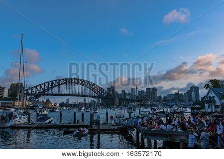 Sydney Harbour Bridge Sydney Australia at sunset.JAN 01,2017 The Sydney Harbour Bridge is a steel through arch bridge across Sydney Harbour to the North Shore.