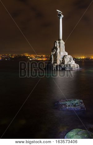 Monument to scuttled Russian ships to obstruct entrance to Sevastopol bay. One of symbols of Sevastopol.Crimea, Russia