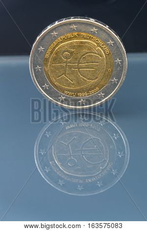 Commemorative 2 Eur Coin 10Th Anniversary Of European Economic And Monetary Union, Issued By Sloveni