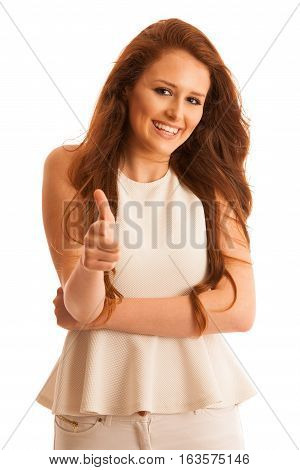 Woman Holding Hand In Shape Of Gun As A Gesture For Power And Victory